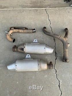 2007 Honda Crf250r Dual Exhaust Muffler Silencer Header Head Pipe