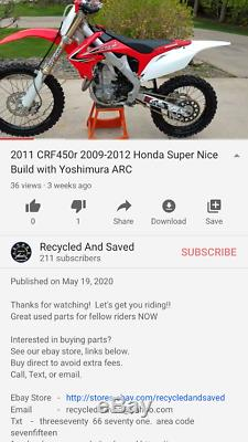 2011-2012 Honda CRF450R Yoshimura RS4 Titanium Exhaust Header Head pipe +springs