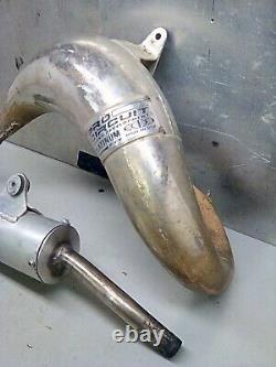 Honda cr80 exhaust muffler expansion chamber head pipe header FREE SHIPPING