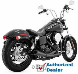 Vance & Hines Black 2 Into 1 2-1 Upsweep Exhaust Head Pipes Harley Dyna 06-2017