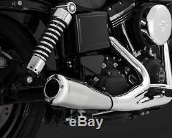 Vance & Hines Chrome 2 Into 1 Upsweep Full Exhaust Head Pipe Harley Dyna 06-2017