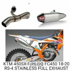 Yoshimura RS-4 Stainless Head Pipe Carbon End Cap Full Exhaust KTM 450 SX-F 19-2